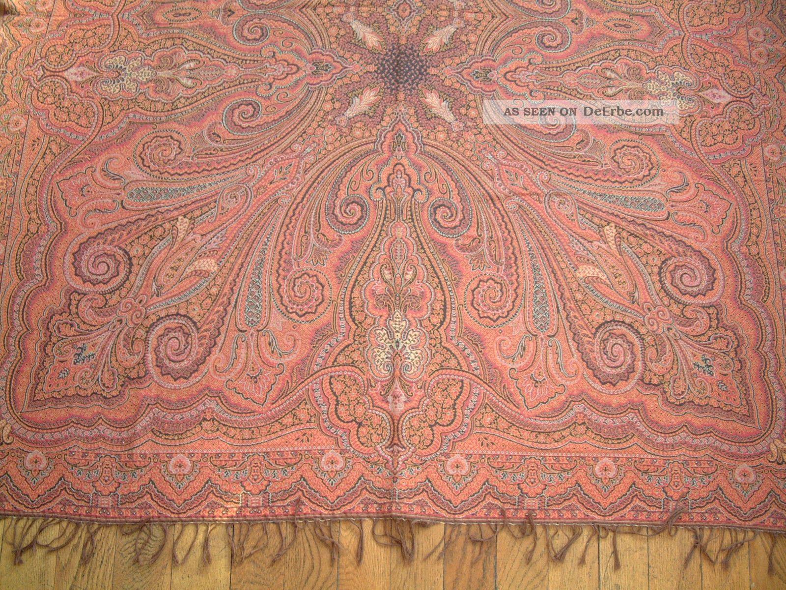 paisley decke beidseitig gewebt 1920 rechteckig sehr dekorativ sch ne farben. Black Bedroom Furniture Sets. Home Design Ideas