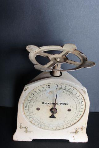Antike Küchenwaage Waage Alexanderwerk 0 - 10 Kg Blech / Emaille Funkt.  Ok,  Ca.  1930 Bild