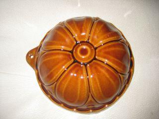 Alte Keramik - Backform Braun Lasiert Rund Blume Scheurich Bild