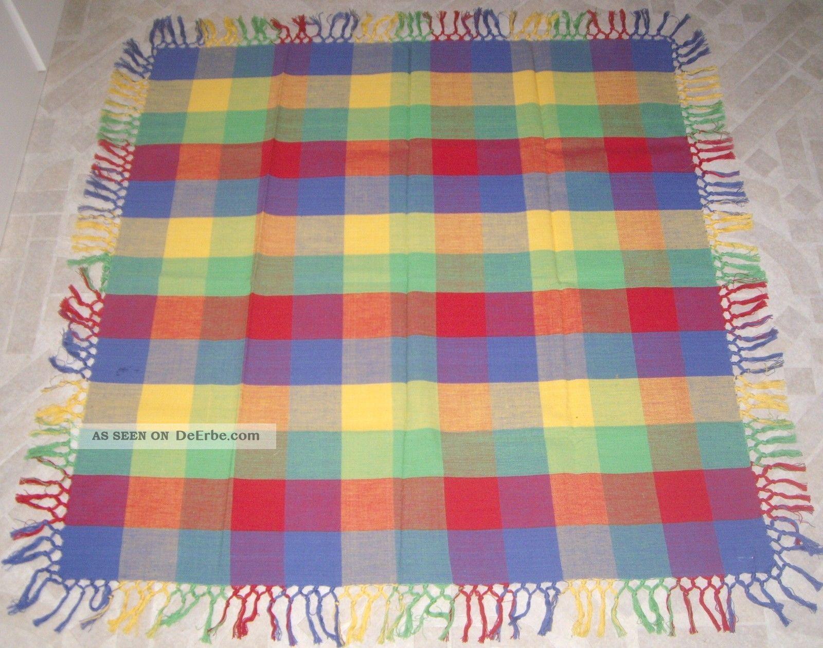 tischdecke ca 92 x 96 cm bunt farbig fransen kariert baumwolle 1 x aufgelegt. Black Bedroom Furniture Sets. Home Design Ideas
