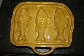 Uralte Keramik Backform Pastetenform Kugelhupf Gelbe Form Fische Kohren Um 1880 Bild