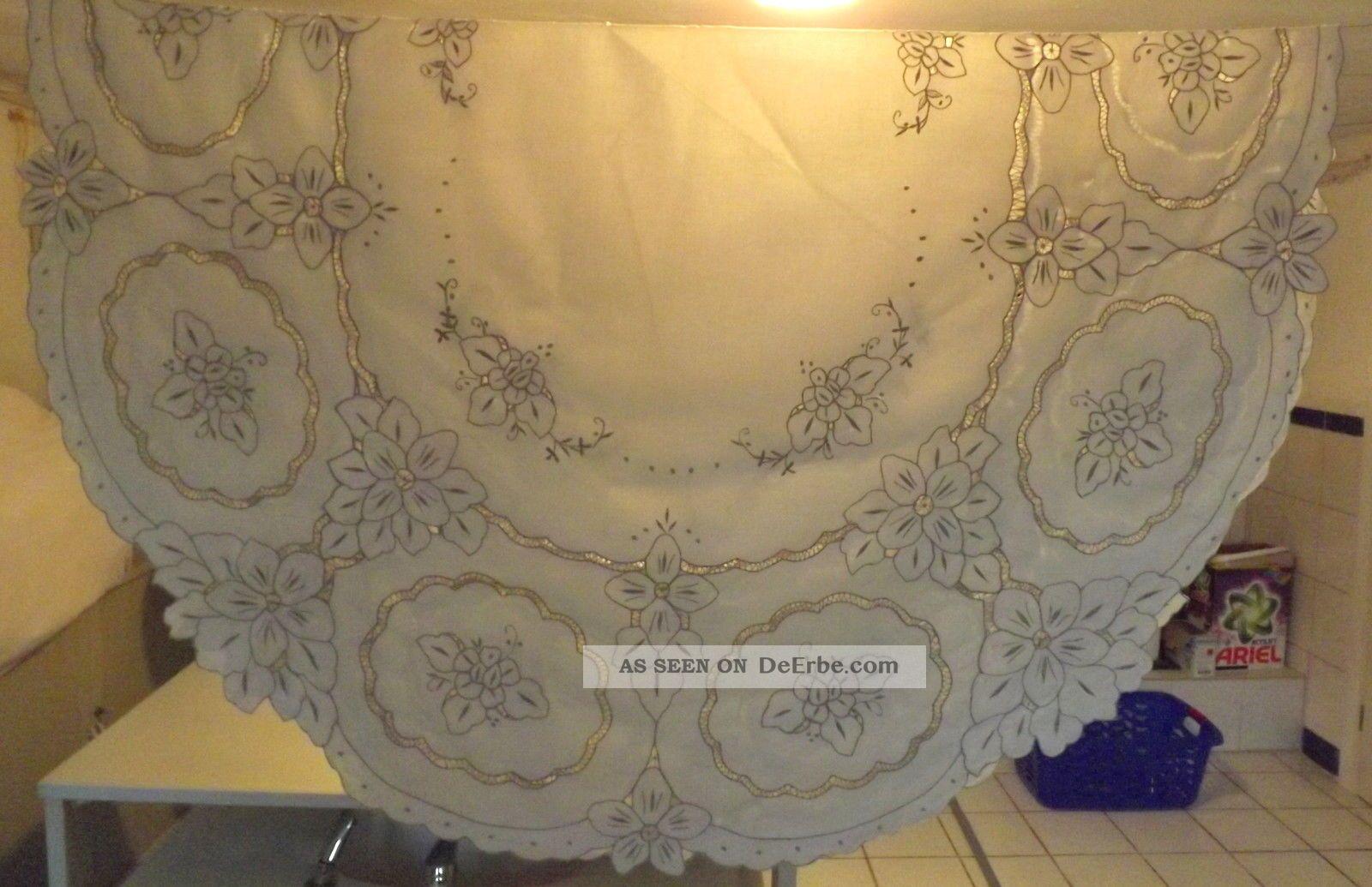 gro e alte tischdecke creme graue stickerei blumen richelieu oval 155 200 cm. Black Bedroom Furniture Sets. Home Design Ideas