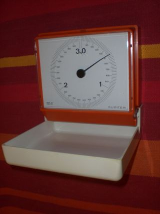 Jupiter 3kg Waage Wandwaage Küchenwaage Orange 60er 70er Retro True Vintage Bild