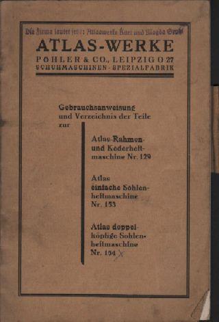 Leipzig,  Katalog 1926/27,  Atlaswerke Pöhler & Co Schuh - Maschinen - Fabrik Nähmasch Bild