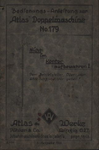 Leipzig,  Katalog 1933,  Atlaswerke Pöhler & Co Schuh - Maschinen - Fabrik Nähmaschine Bild