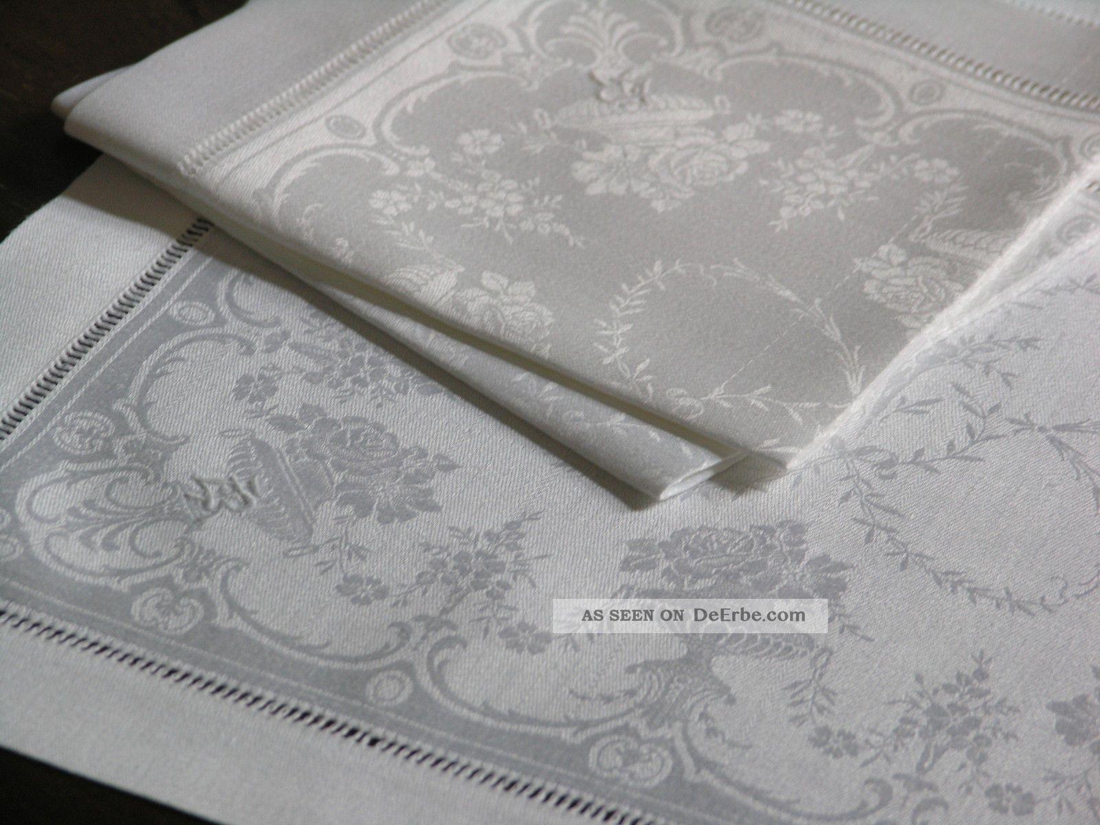 3 sehr sch ne kleine seiden damast servietten mit hohlsaumkante jugendstil. Black Bedroom Furniture Sets. Home Design Ideas