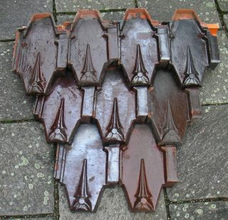 9 Stück Dachziegel Alt Rautenfalzziegel Rauten - Ziegel Gilardoniziegel Originale Bild