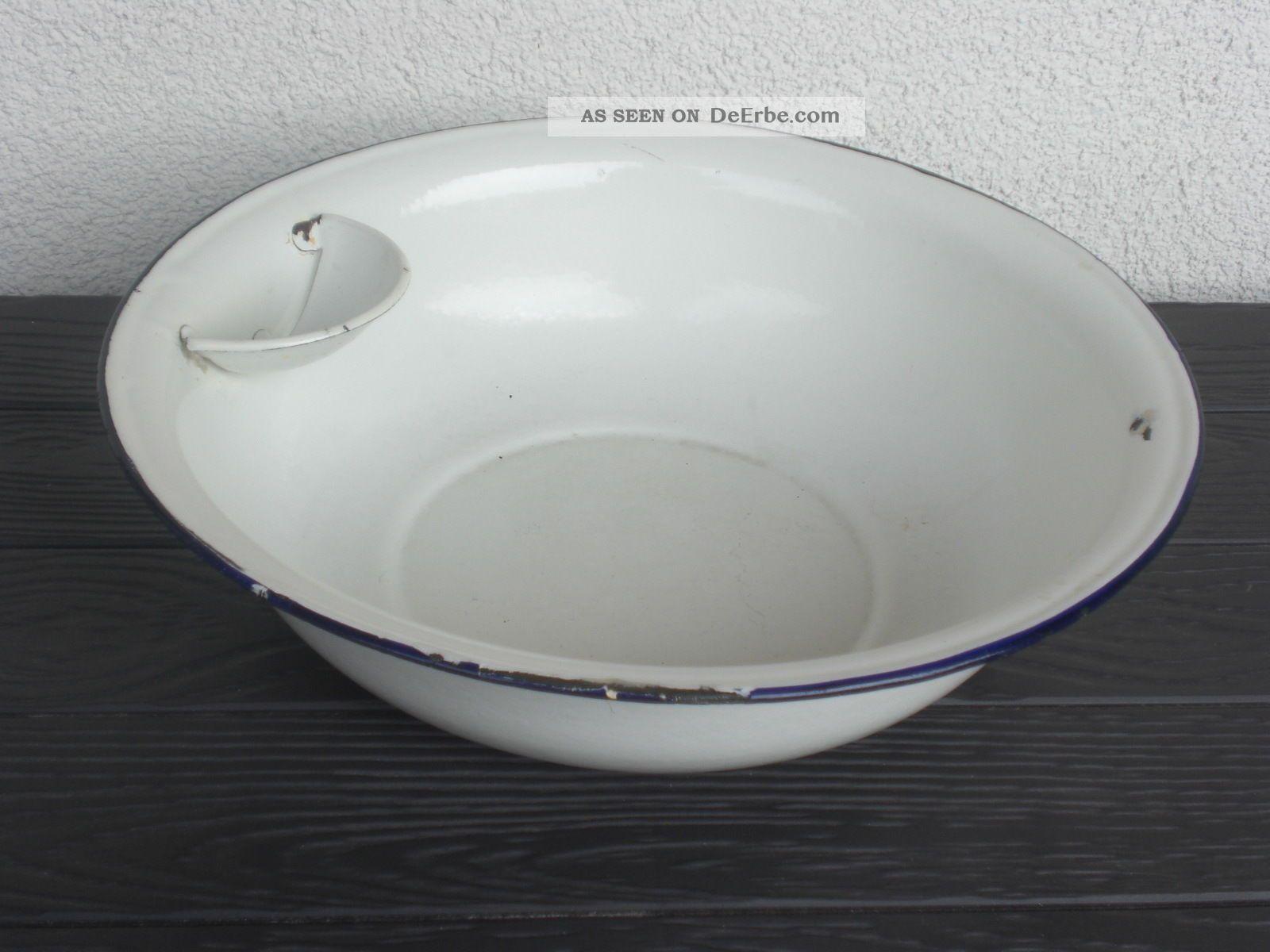 Emaille Wasch Schüssel Weiß Mit Seifenablage Pflanzkübel