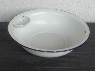 Emaille Wasch - Schüssel Weiß Mit Seifenablage Pflanzkübel,  Übertopf,  Shabby Chic Bild