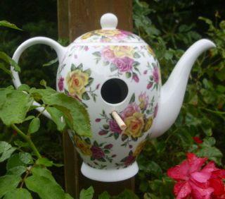Deko Vogelhaus Kaffeekanne Vogel Porzellan Gartendeko Antik Landhausstil Garten Bild