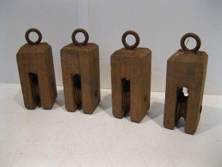 4 Stück Kleine Umlenkrolle Aus Holz Sehr Alt 10cm Hoch Shabby Stil Bild