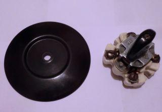 Antik Bakelit Drehschalter Schalter Up Schwarz Rund Art Deco Loft Vintage Bild