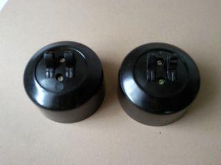 2 Alte Bakelit Doppel - Schalter Lichtschalter Schwarz Aufputz Bauhaus Loft (8) Bild