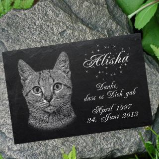 Grabstein Tiergrabstein Grabplatte Katzen Katze - 007 Wunschgravur ◄ 30 X 20 Cm Bild