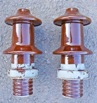 2 X Isolator Keramik Hochspannung Hochspannungsleitung Industrie Loft Alt 1965 Bild