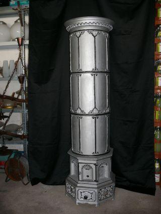 Alter Prunkvoller Gussofen Säulenofen Massiv Ofen Aus Gusseisen 6 - Teilig Bild