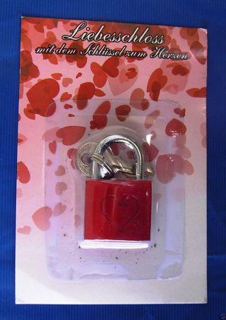 Liebesschloss Mit Herz - Rot - Mit Schlüssel - Zum Selbstgravieren - - Ovp Bild
