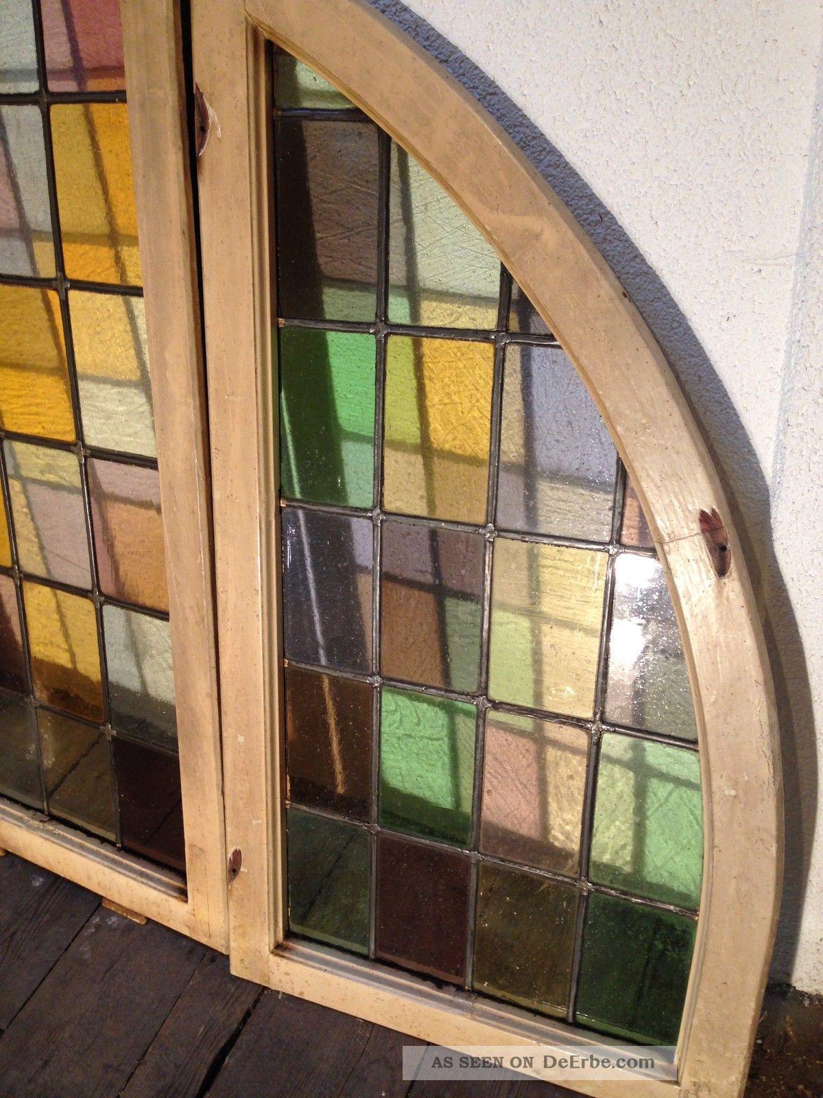 3 antike fenster 9 teilig jugendstil bleiverglasung bunt for Fenster 3 teilig