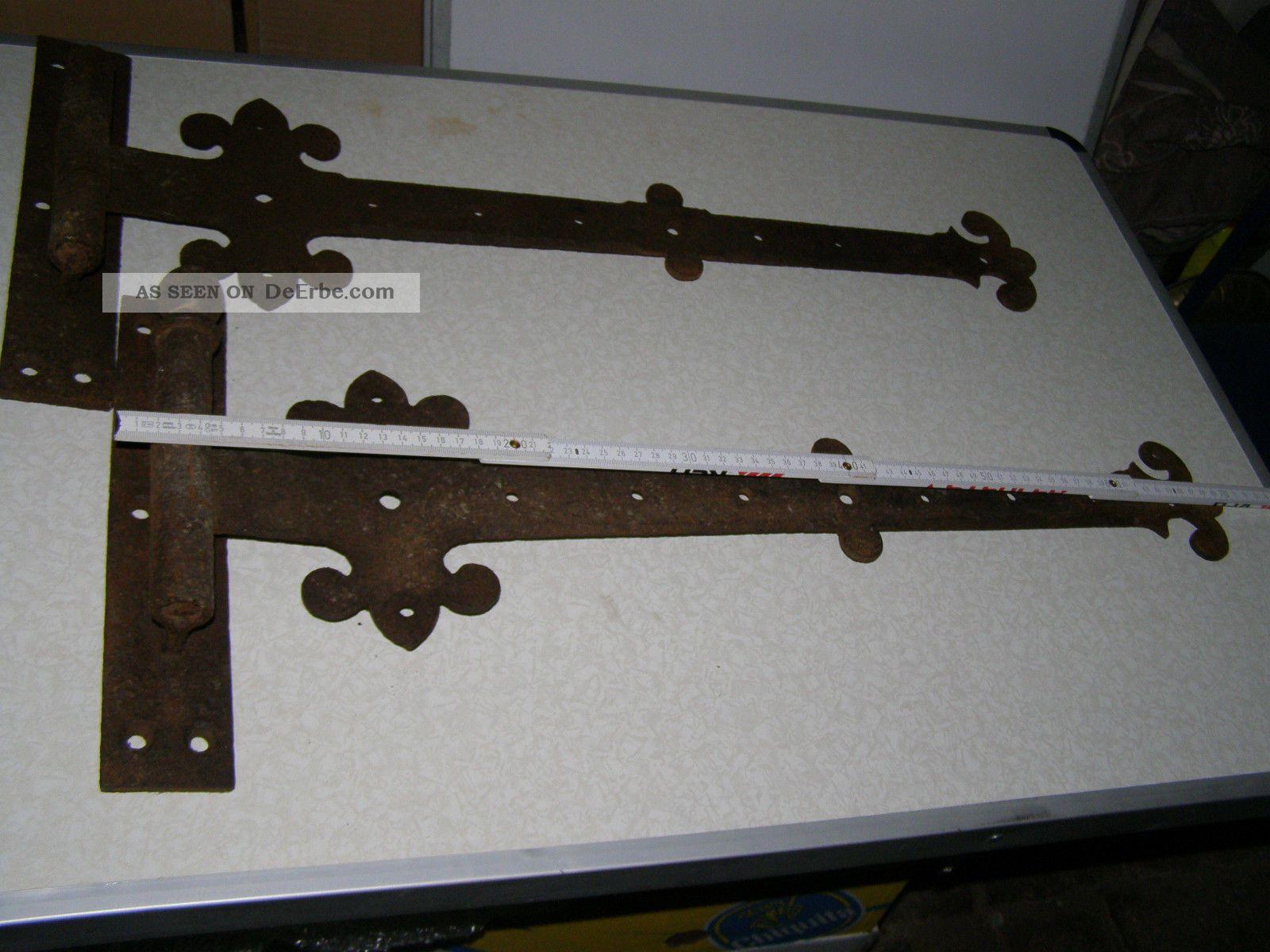 2 große alte türbeschläge aus eisen dachbodenfund