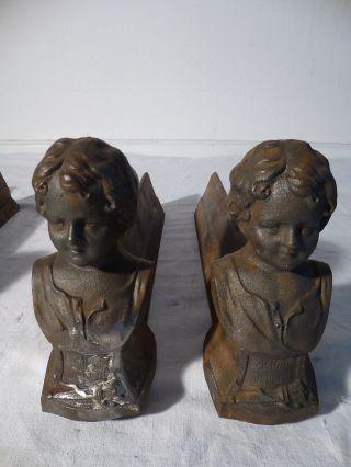 Zwei Antike Paar Kaminhunde FeuerbÖcke Kamin Gusseisen Sphinx 19 Jh Bild