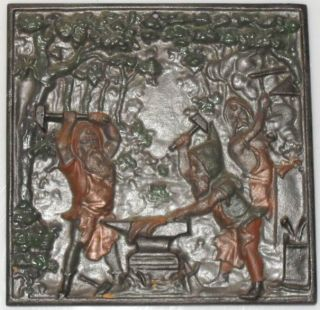 Wandrelief Wandplatte Ofenplatte Gusseisen Zwerge Beim Schmieden Am Amboss Bild