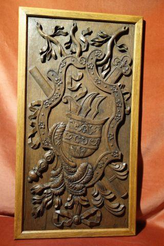Antike Paneele Mit Geschnitztem Wappen,  Um 1750,  Eichenholz,  Zum Wandeinbau Bild