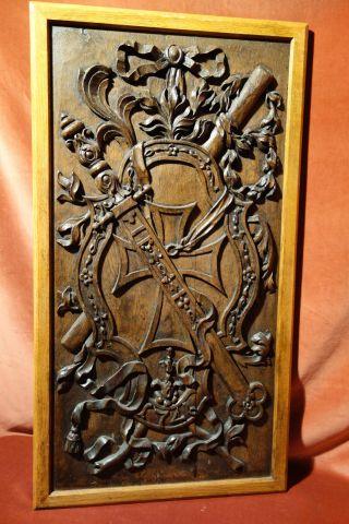 Antike Paneele Mit Geschnitztem Wappen,  Datiert 1746,  Eichenholz,  Zum Wandeinbau Bild