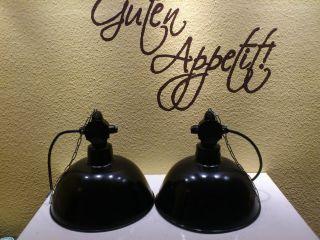 2 Mal Emaillelampe,  Art Deko,  Bauhaus Emaillelampe Werkstattlampe, Bild