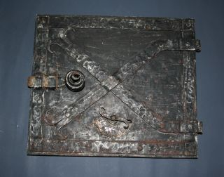 Alte Ofentüre Kamintüre Eisentüre Handgeschmiedet Ofentürl Aschen Türe Klappe Bild