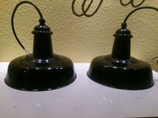 2 Mal Emaillelampe,  Art Deko,  Bauhaus Emaillelampe,  Werkstattlampe,  Rarität Bild