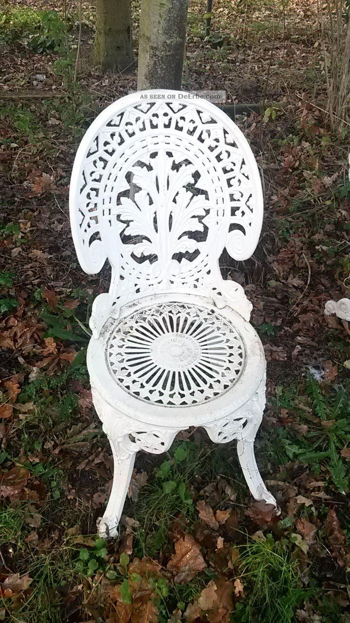 garnitur gartentisch 3 st hle weiss eisen gartenm bel antikstil nostalgie. Black Bedroom Furniture Sets. Home Design Ideas