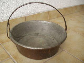 Antikes Schweres Kupfer - Gefäß Mit Henkel U.  Wasserausguss - Schnabel - 19.  Jhd Bild