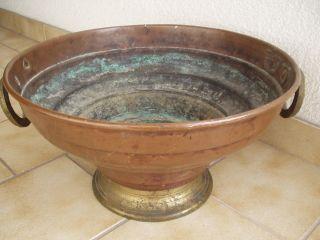 Antikes Originales Circa 4 Kg Schweres Kupfer - Gefäß Mit Zwei Griffen - 19.  Jhd Bild