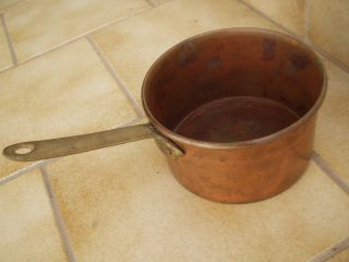 Sehr Alte Pfanne Aus Kupfer Mit Griff In Perfektem Bild