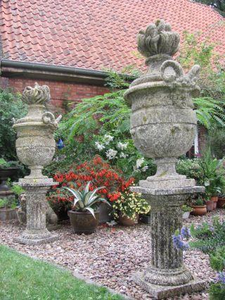 Frankreich Große Park Vase Säule Widder Köpfe Deckel Vase Garten Skulptur Figur Bild