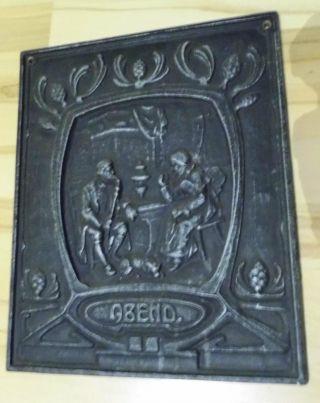 Ofenplatte - 31,  5 X 38,  5 - Jugendstil - Gusseisen - Ofenplatte Abend Bild