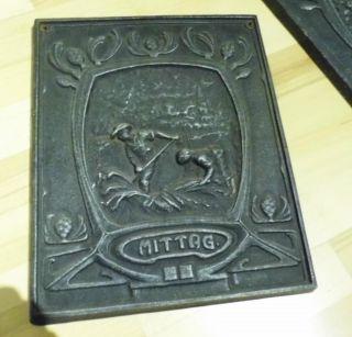 Ofenplatte - 31,  5 X 38,  5 - Jugendstil - Gusseisen - Ofenplatte Mittag Bild