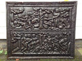 Schöne Alte Ofenplatte Kaminplatte Gusseisenplatte Hausschmuck Haussegen Ca60x50 Bild