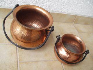 Zwei Sehr Schöne Alte Kupfer - Kessel Mit Eisen - Henkel - Keine Dellen Bild