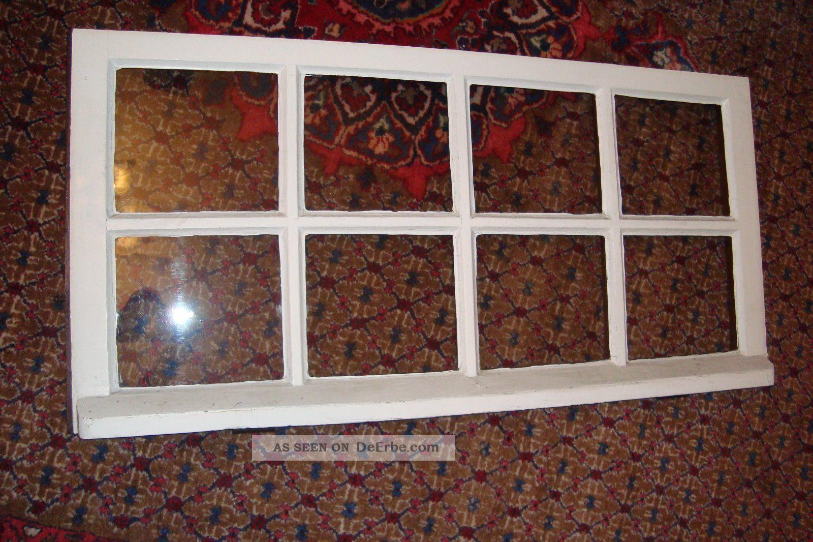 Altes fenster holzfenster eiche oberlicht handgezogen glas deko 1900 - Altes fenster deko ...