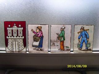Glasmalerei F.  Bleiverglasung Hh - Wappen,  Hummel Hummel,  Zitronenjette,  Fischhändler Bild
