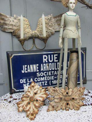 Frankreich 2x Antike Gusseisen Xl Feston Zierteile Eisen Beschlag French Shabby Bild