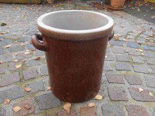 Großer 10 Liter Gurkentopf Pflanztopf Sauerkrauttopf Braun Keramiktopf Steintopf Bild