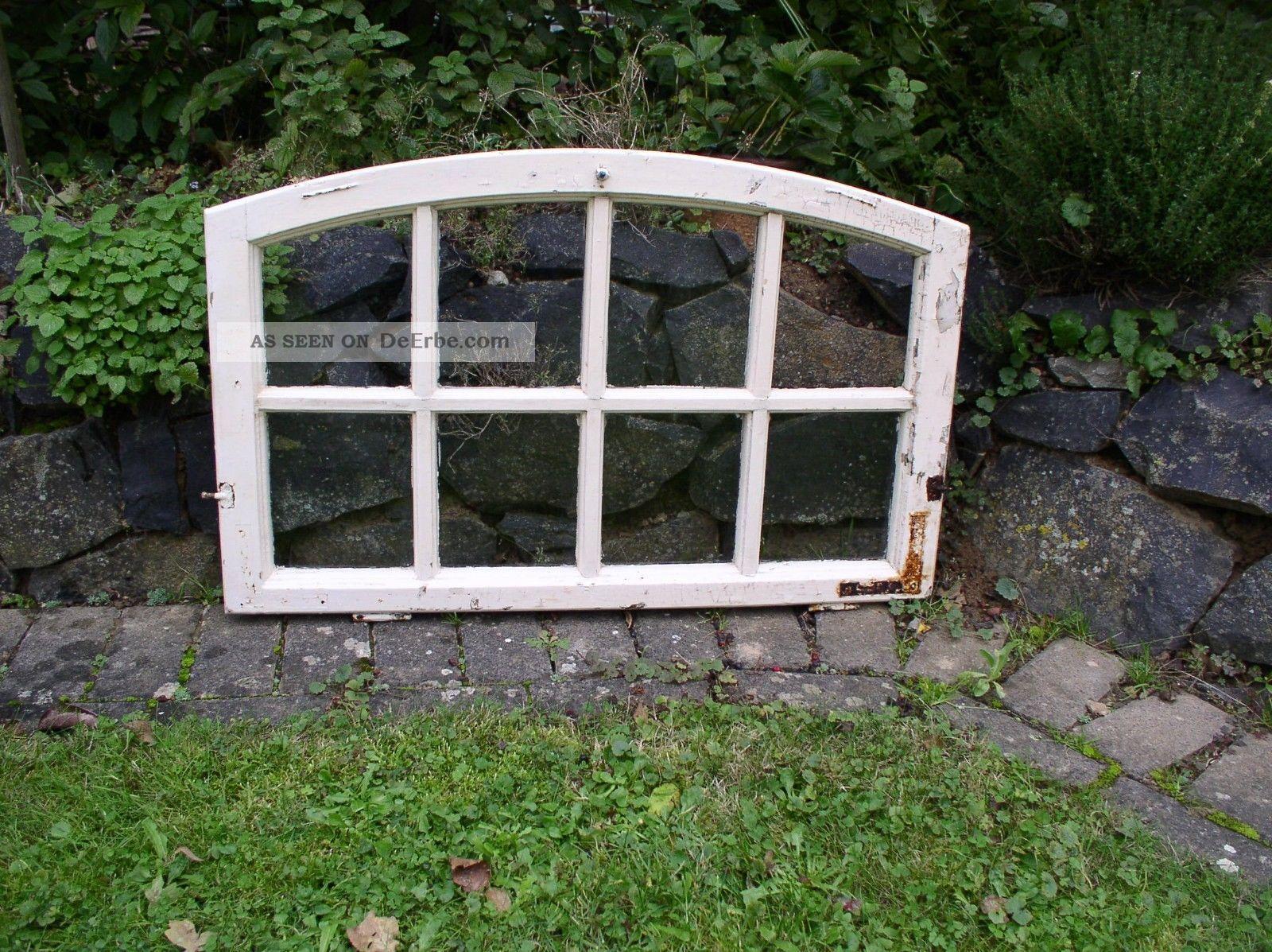 altes holzfenster sprossenfenster bogenfenster 85cm x 54cm. Black Bedroom Furniture Sets. Home Design Ideas
