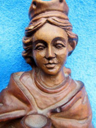 Heilige Barbara - Patronin Der Bergleute - Heiligenfigur Aus Holz Geschnitzt - Bild