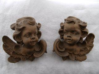 1 Paar Puttenkopf Geflügelter Engel Holzschnitzerei Alt Wunderschön Bild