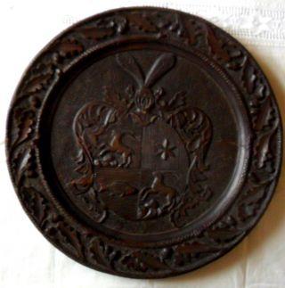 Alter Wappenteller Holz Dunkel Ostpreussen Vor 1900 Rar Bild