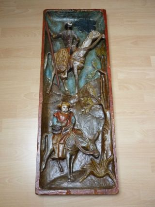 Holzrelief / Bild ' Don Quijote Und Sancho Panza ' (ca.  91cm X 33cm) Bild