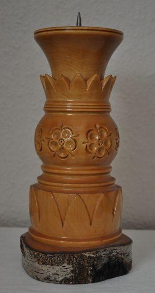 Alter Holz Kerzen Halter - Ständer - Gedrechselt Und Geschnitzt - Handarbeit Bild