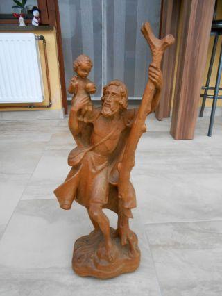 Holz Figur Christopherus Handgeschnitzt Bild